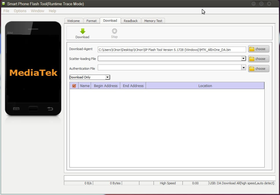 Launch Sp Flash Tool to Format a Single Partition of Itel A62