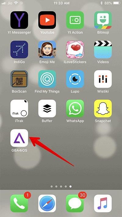 Open GBA4iOS on iPhone 1