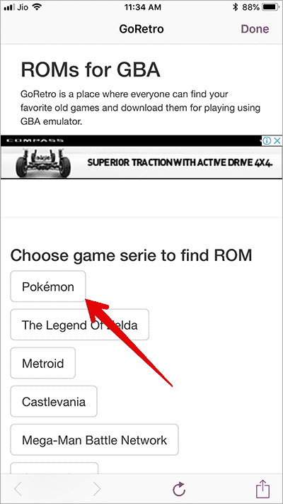 Tap on ROM of Games in GBA4iOS on iPhone 1