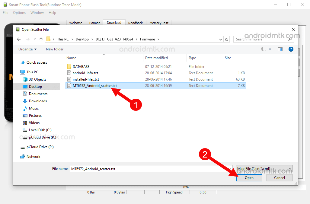 SP Flash Tool Select Scatter