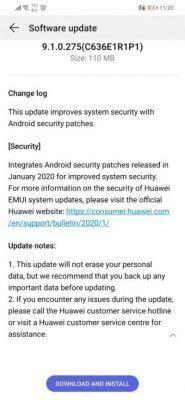 Huawei Nova 3i January Security Update