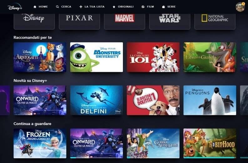 USA catalog of Disney Plus