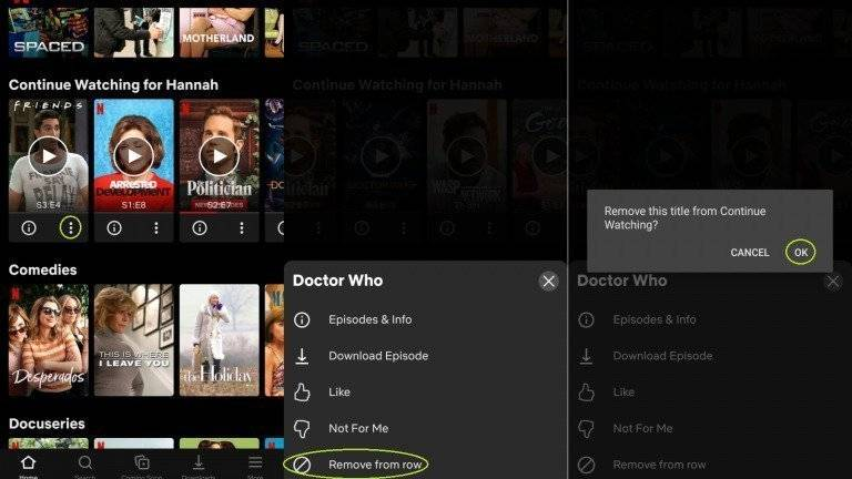 Clear Netflix Watch History on Android