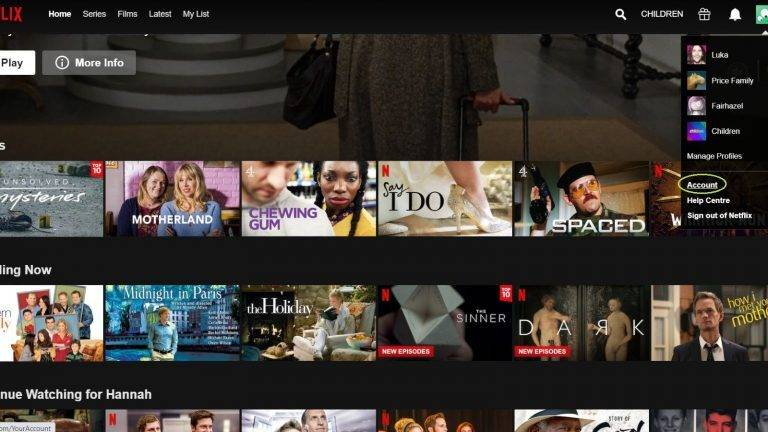 Clear Netflix Watch History via PC