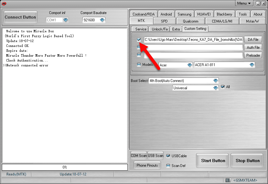 checkbox to enable the DA file